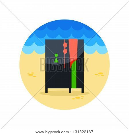 Cloakroom on the beach vector icon. Beach. Summer. Summertime. Vacation eps 10