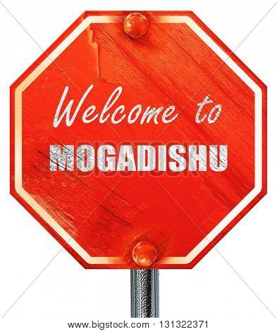 Welcome to mogadishu, 3D rendering, a red stop sign