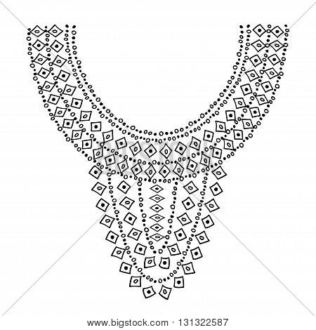 Neckline design. Embroidery drawing black on white isolated.
