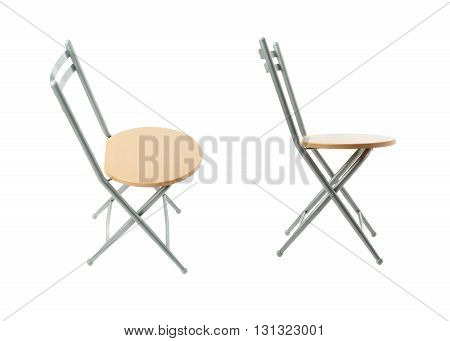 Set of Folding chair with wooden seat over isolated white background