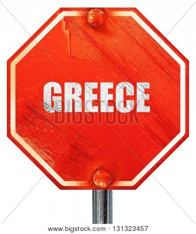 Greetings from greece, 3D rendering, a red stop sign