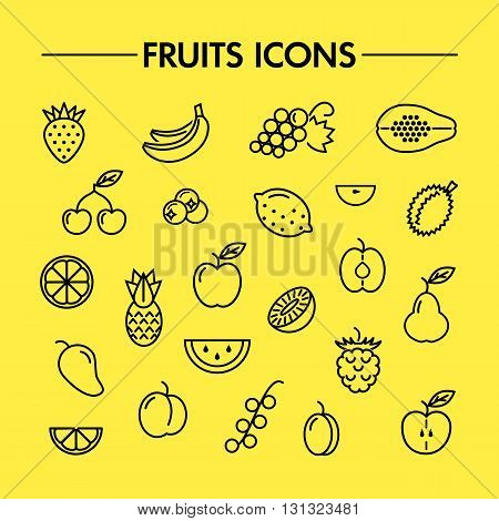 Line icon collection. Set of different fruits and berries icons. Vector design elements for web and mobile