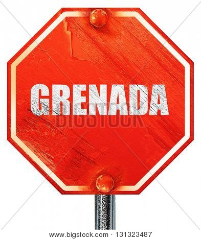 Greetings from grenada, 3D rendering, a red stop sign