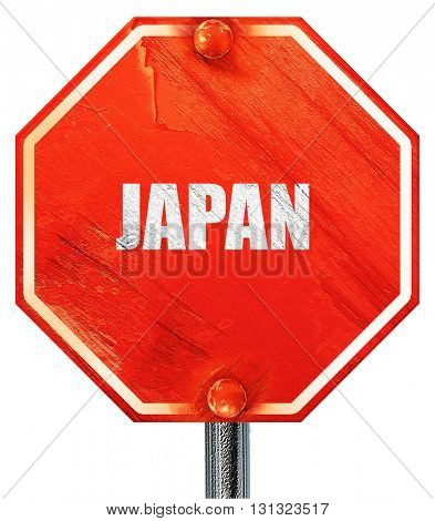 Greetings from japan, 3D rendering, a red stop sign