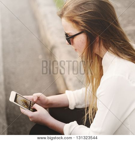 Casual Cheerful Girl Alone Outdoor Recreation Concept