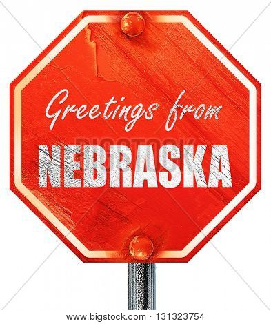 Greetings from nebraska, 3D rendering, a red stop sign