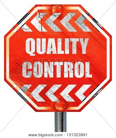 Quality control background, 3D rendering, a red stop sign