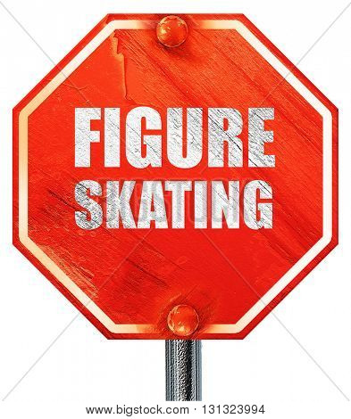 figure skating sign background, 3D rendering, a red stop sign