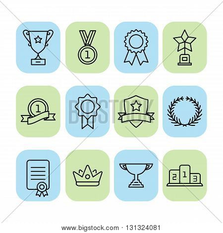 Set of trophy and awards icons. Awards line icon
