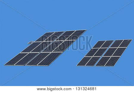 Isolated solar panels of clear sky blue background