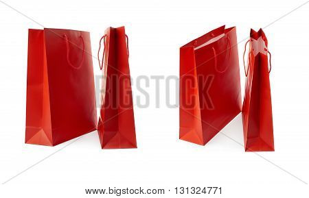 Set of Pair Red Shopping bag isolated over the white background