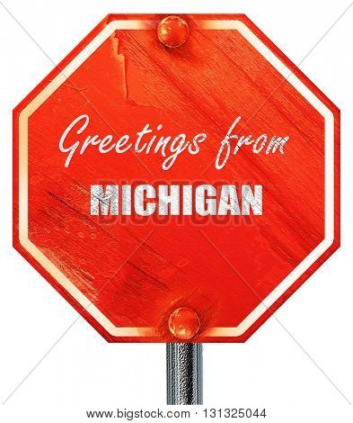 Greetings from michigan, 3D rendering, a red stop sign