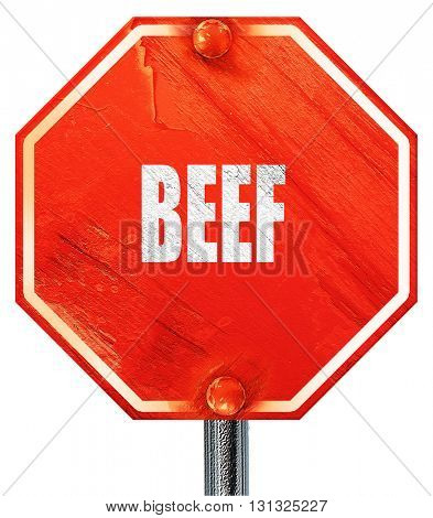 Delicious beef sign, 3D rendering, a red stop sign