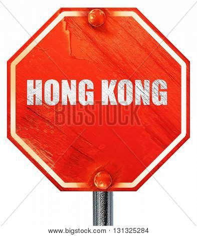 Greetings from hong kong, 3D rendering, a red stop sign