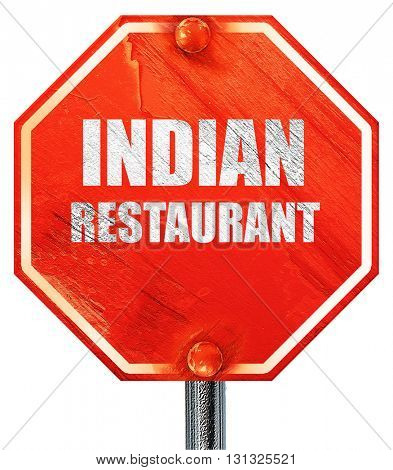 Delicious indian restaurant, 3D rendering, a red stop sign
