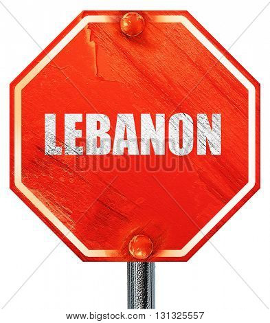 Greetings from lebanon, 3D rendering, a red stop sign