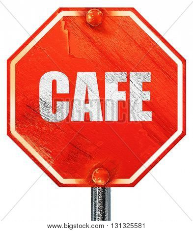 cafe sign background, 3D rendering, a red stop sign