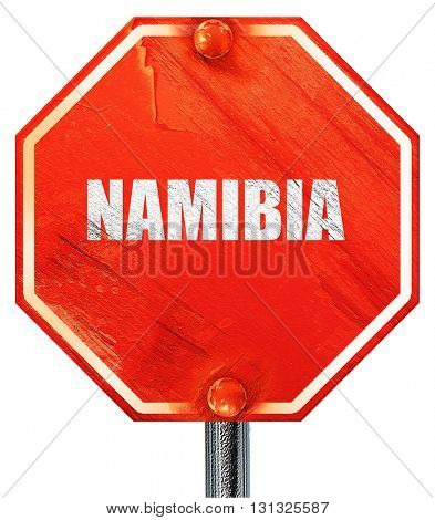 Greetings from namibia, 3D rendering, a red stop sign