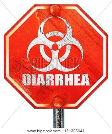 Diarrhea concept background, 3D rendering, a red stop sign