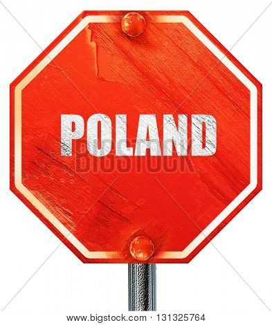 Greetings from poland, 3D rendering, a red stop sign