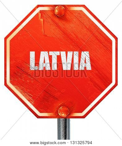 Greetings from latvia, 3D rendering, a red stop sign