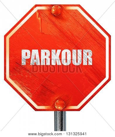 parkour sign background, 3D rendering, a red stop sign