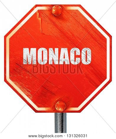 Greetings from monaco, 3D rendering, a red stop sign
