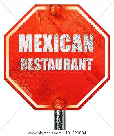 Delicious mexican cuisine, 3D rendering, a red stop sign