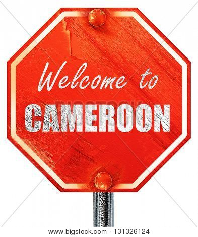 Welcome to cameroon, 3D rendering, a red stop sign