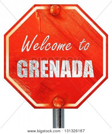 Welcome to grenada, 3D rendering, a red stop sign
