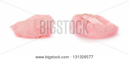 Set of Pink Shower cap isolated over the white background