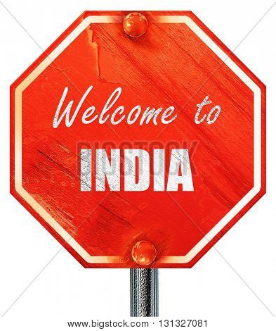 Welcome to india, 3D rendering, a red stop sign