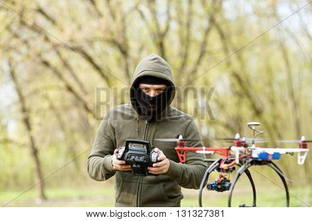 Man flying with the drone