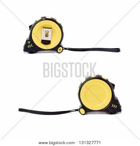 Set of  Closed Working construction Measuring tape over isolated white background