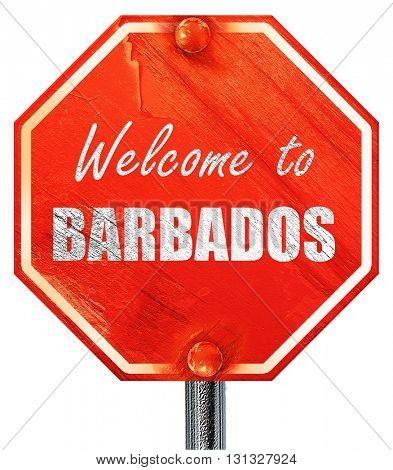 Welcome to barbados, 3D rendering, a red stop sign