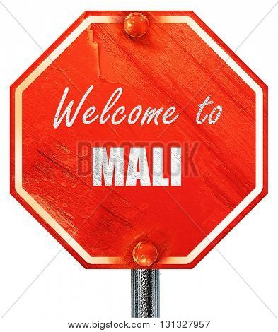 Welcome to mali, 3D rendering, a red stop sign