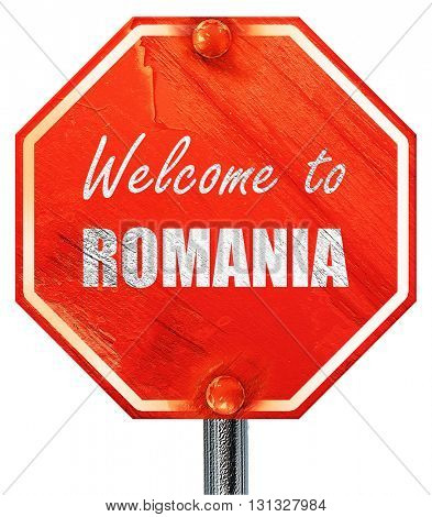 greetings from romania, 3D rendering, a red stop sign