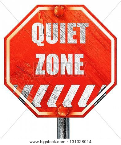 Quiet zone sign, 3D rendering, a red stop sign