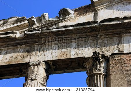 ancient roman marble portico near Theatre of Marcellus Rome Italy
