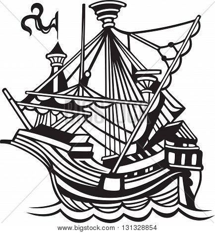 old sailing ship, black and white illustration