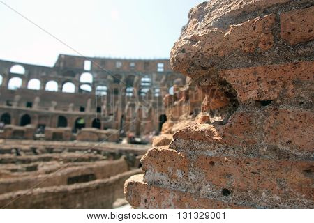 recidence red brick wall of Colosseum and views of arena as background