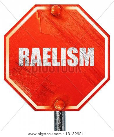 raelism, 3D rendering, a red stop sign
