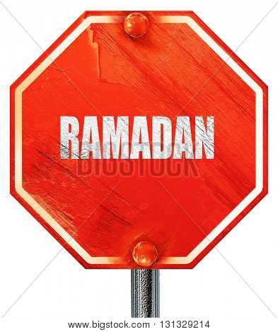 Ramadan, 3D rendering, a red stop sign