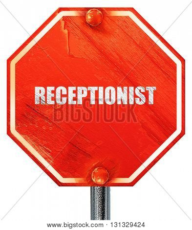 receptionist, 3D rendering, a red stop sign