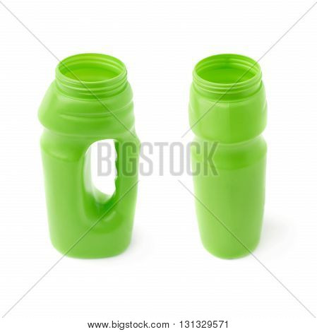 Set of Water sport plastic green bottle isolated over the white background