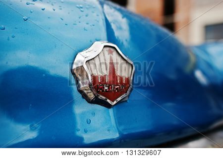 Podol, Ukraine - May 19, 2016: Logo Of Classic Soviet Retro City Car Mzma Moskvitch