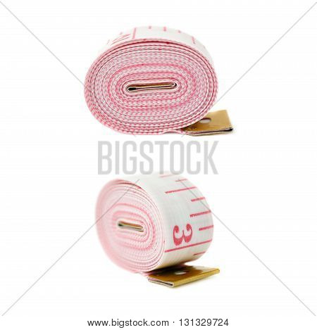 Set of Red Tailor measuring tape isolated over the white background