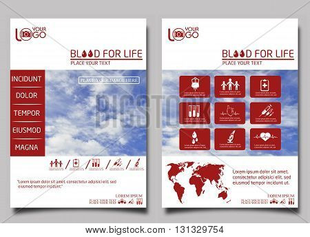 Blood donor. Flyer design template vector. Leaflet cover presentation background.