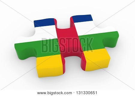 Central African Flag Puzzle Piece - Flag Of The Central African Republic Jigsaw Piece 3D Illustratio