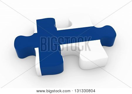 Finnish Flag Puzzle Piece - Flag Of Finland Jigsaw Piece 3D Illustration